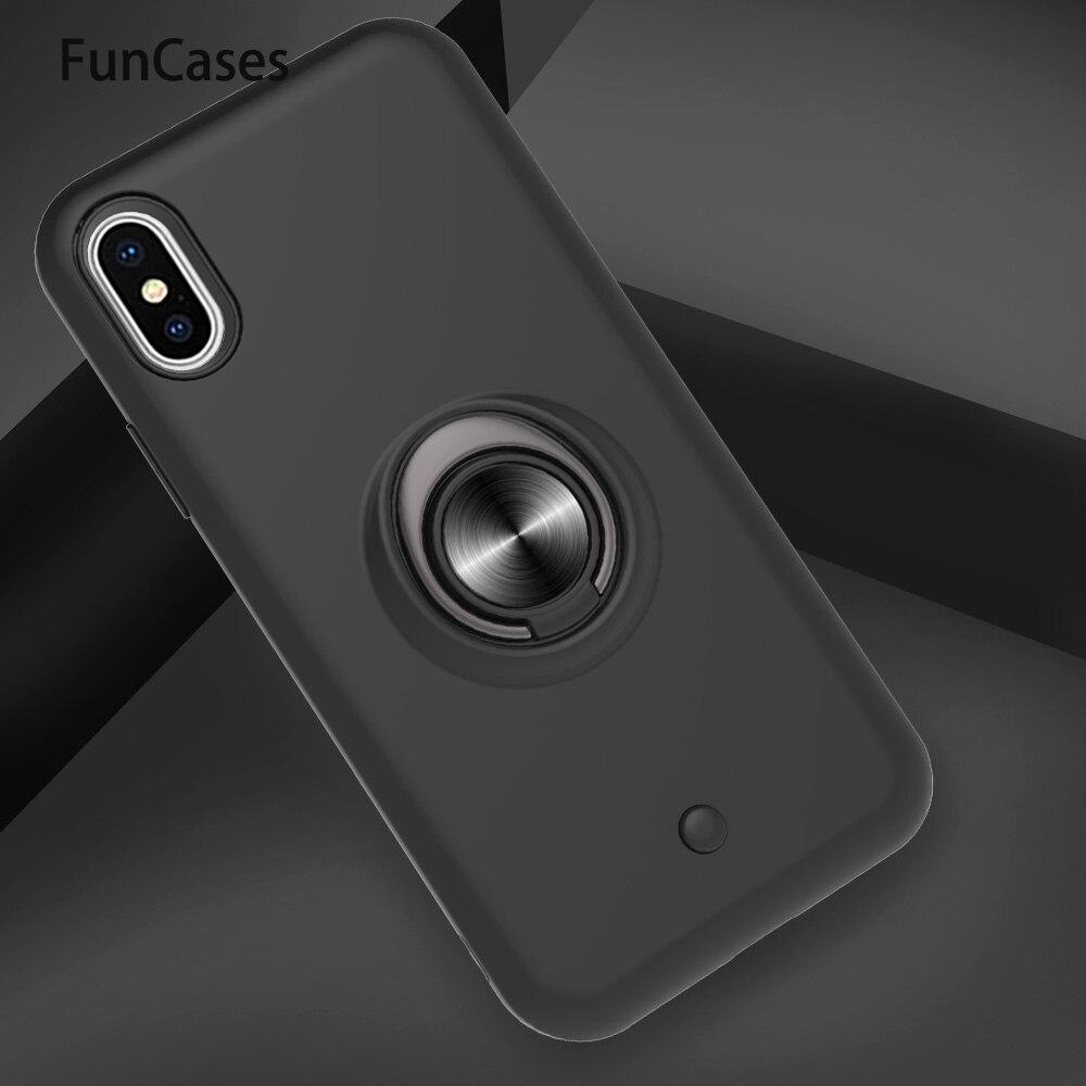 Anillo magnético para coche PC + carcasa de TPU para iPhone X, funda para móvil, dibujos animados para Apple iPhone, carcasa XS Max XR