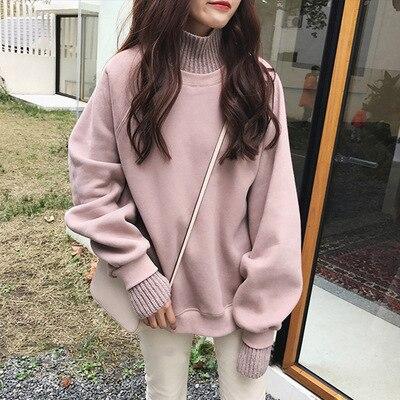 Jersey de dos falsas para mujer, Jersey de punto de manga larga de talla grande negro con cuello de tortuga grueso y dulce coreano suelto, suéter para niñas
