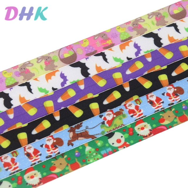 DHK 5/8'' 5yards christmas easter halloween printed Fold Elastic FOE stretch ribbon hairbow headwear headband DIY OEM C1767