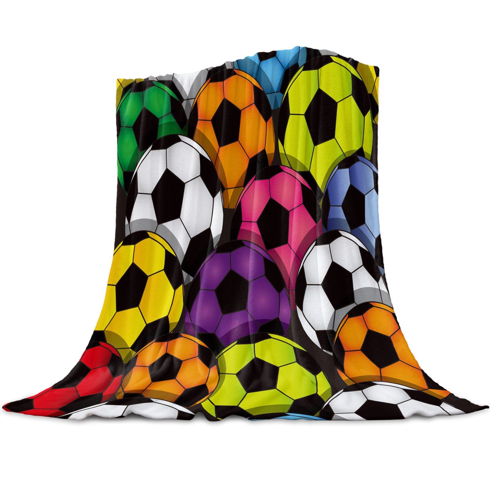Soccmaker كرة القدم الملونة المرجان الصوف بطانية الشتاء ورقة المفرش أريكة سرير رمي خفيفة رقيقة لينة الدافئة الفانيلا البطانيات