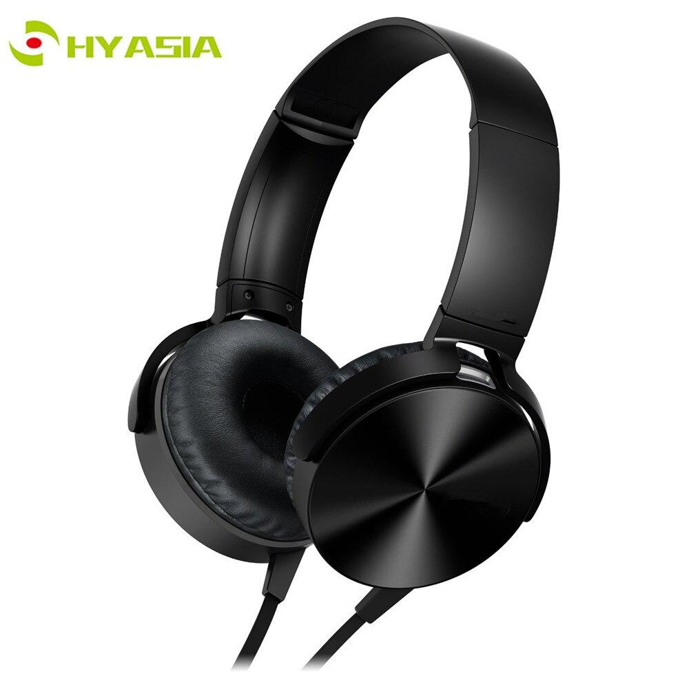 HYASIA-سماعة رأس سلكية مع ميكروفون ، 3.5 مللي متر ، إلغاء الضوضاء ، سماعة رأس سلكية لسوني Mobile PC XB450