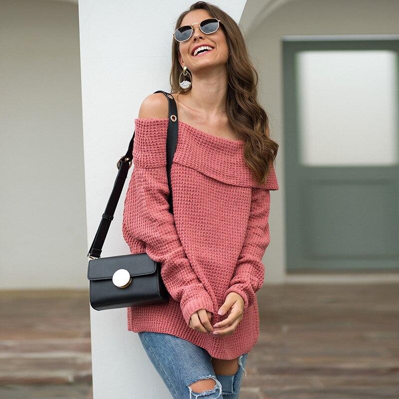 Милый женский свитер, вязаные Джемперы, Однотонный женский свитер с открытым воротником, свободный мягкий теплый свитер, женский свитер y2k