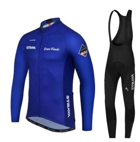 2019STRAVA azul marino Pro Team manga larga Ciclismo Jerseys Ropa Ciclismo Maillot bicicleta Ropa Mtb ropas para Ciclismo