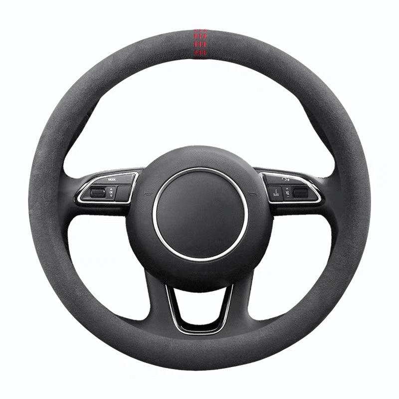 Чехол рулевого колеса автомобиля 38 см Алькантара универсальная Нескользящая кожаная крышка рулевого колеса подходит для 99% деталей интерь...