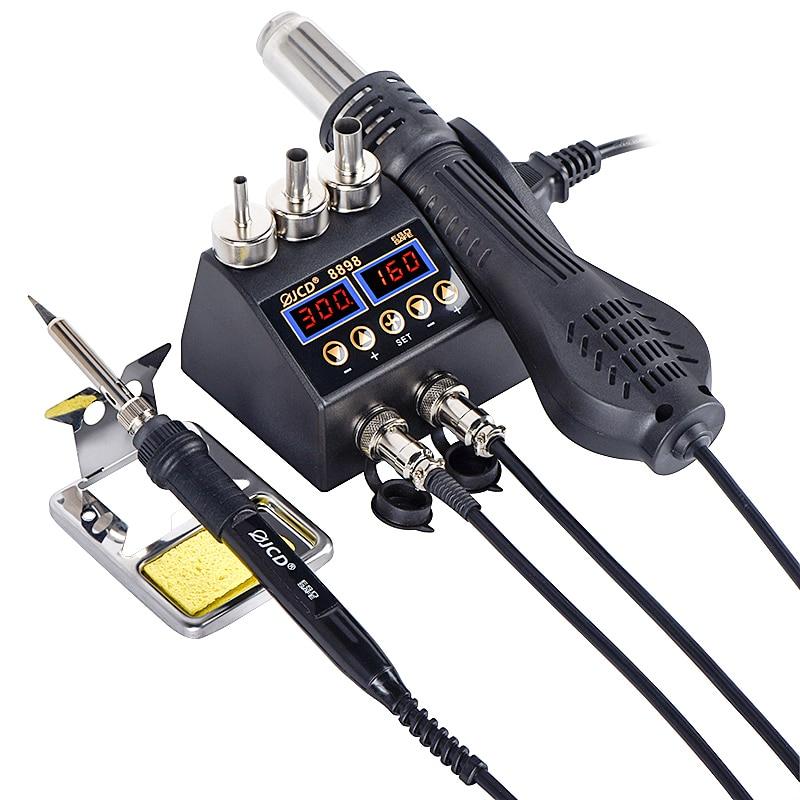 2 az 1-ben 750 W-os forrasztóállomás LCD digitális kijelzővel, hegesztési átdolgozó állomás az okostelefon BGA SMD PCB IC javításához