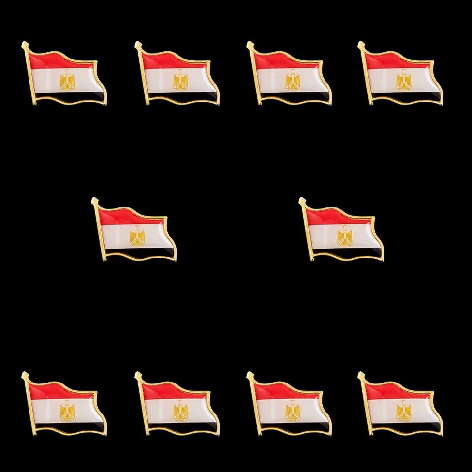 10 Uds. Bandera para agitar el broche del Pin del país de Egipto con la insignia del broche del Clip de la mariposa Pin DE LA SOLAPA coleccionable corbata accesorios de sombrero