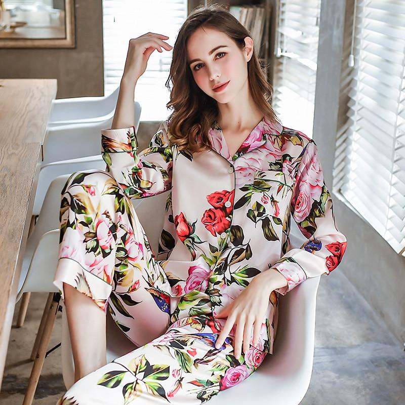 100% Mulberry  Silk Pajamas Women  Real Silk Pajama Sets Sleepwear Floral Printed Flower Long Sleeve Noble Pyjamas Plus Size