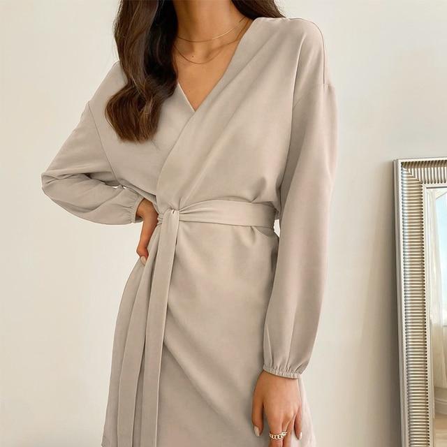 2021 Sexy Slim V Neck Dress Lace Up Long Sleeve Women Club Midi Short Dresses Khaki Black Party Clothes Spring Autumn 10