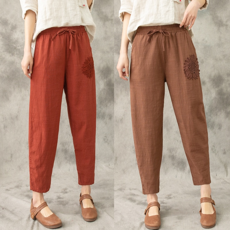 Summer Pants for Women Embroidered Ankle-length Harem Pants Mom Cotton Linen Capri Pants Female Wome