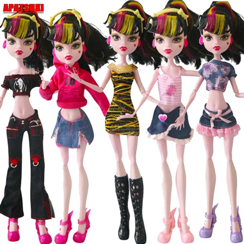 1pc moda boneca roupas para monstro alta roupas para monstro boneca vestidos de roupa curto vestido longo calça 10 estilo boneca traje