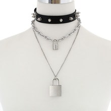 Punk cadenas chaîne collier femmes/hommes goth spike collier ras du cou goth pendentif collier noir cuir emo bijoux