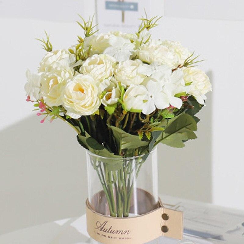 Искусственные цветы, пион, чайная роза, маленький букет оптом, искусственные цветы для дома, свадебной комнаты, сада, украшение, белый