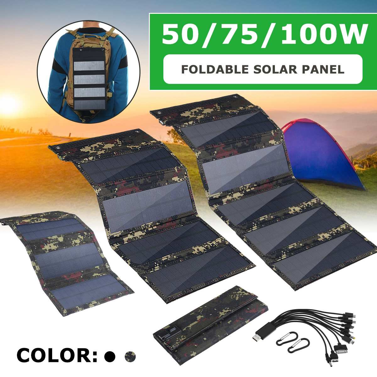 50/75/100W Foldable Solar Panel Sun Power Solar Cells Pack 10 in1 USB Cable Portable Solar Charger Phone For Hiking Camping