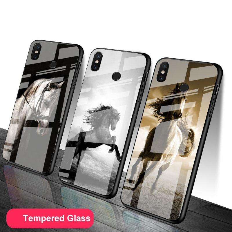 Cavalo animal vidro temperado caso de telefone para redmi nota 5 6 7 8 9 pro note8t note9s redmi8 9 capa escudo