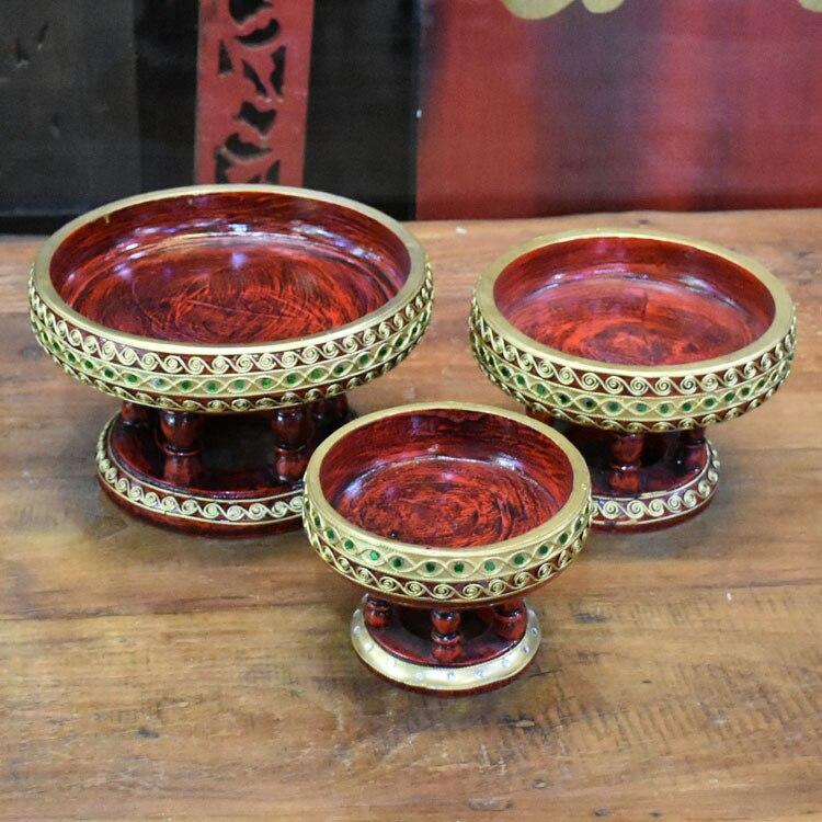 Plato de fruta tallado en madera, cuenco de fruta, artesanías del sudeste asiático, decoración de mesa para sala de estar, decoración Vintage hueca de madera sólida