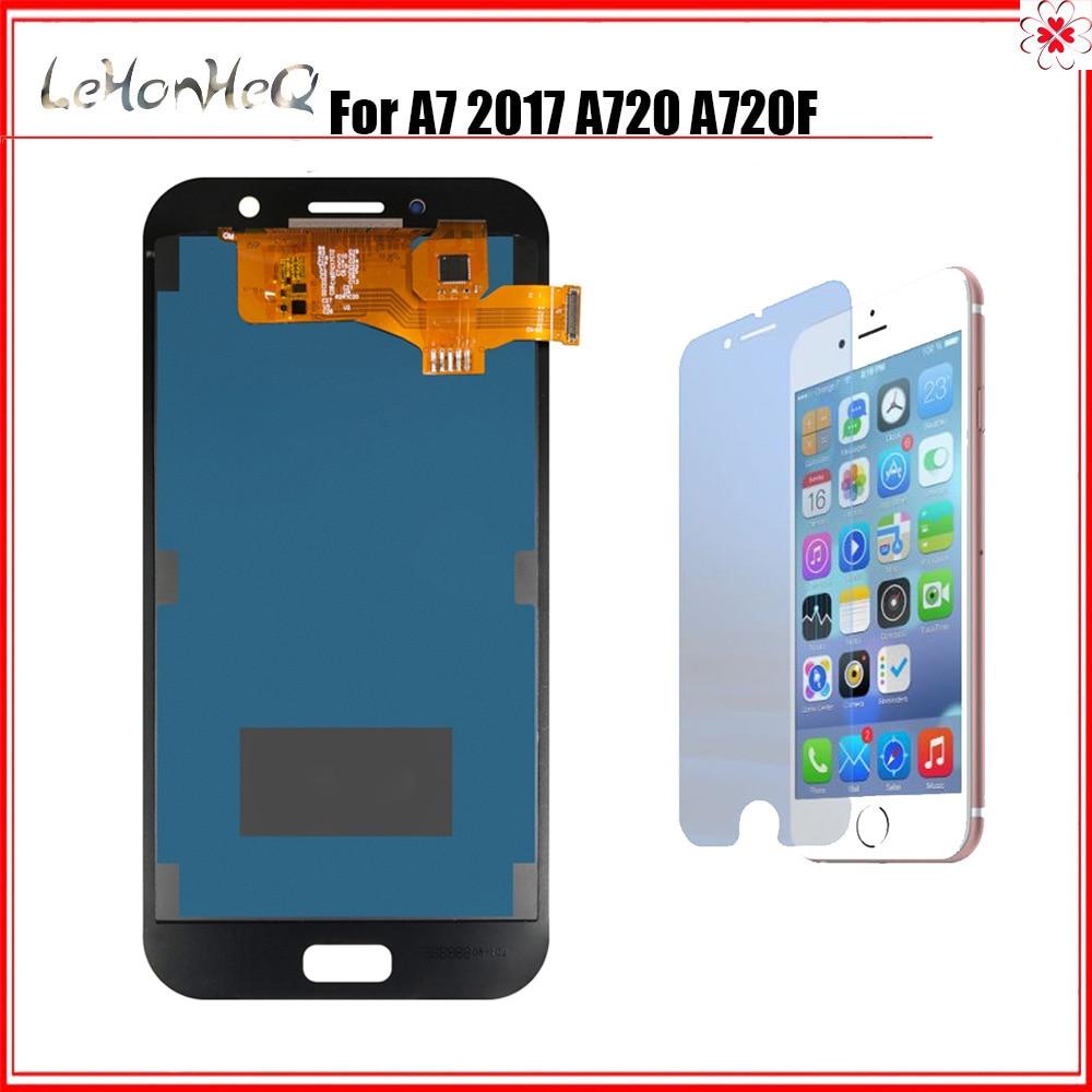Prueba TFT LCD para Samsung Galaxy A7 2017 A720 A720F SM-A720F LCD pantalla táctil digitalizador montaje LCD para Samsung A720 LCD