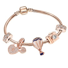 BRACE CODE European Heart-shaped Pendant Charm Bracelet Fit Womens Jewellery Dropshipping Fine Bracelet Rose Gold Snake Chain