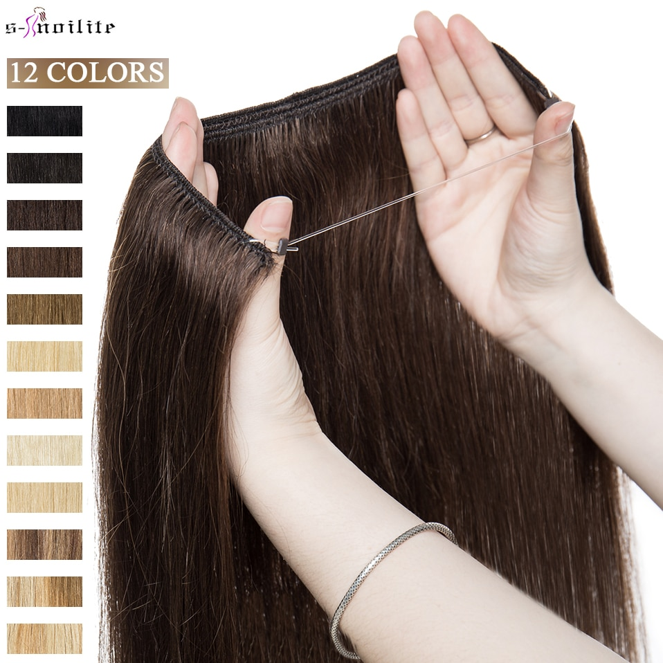 S-noilite 16-24 بوصة 60g-80g سلك في وصلات شعر مستقيم سلك في 100% الإنسان الشعر هيربيسي غير مرئية خيط صنارة صيد شعر طبيعي