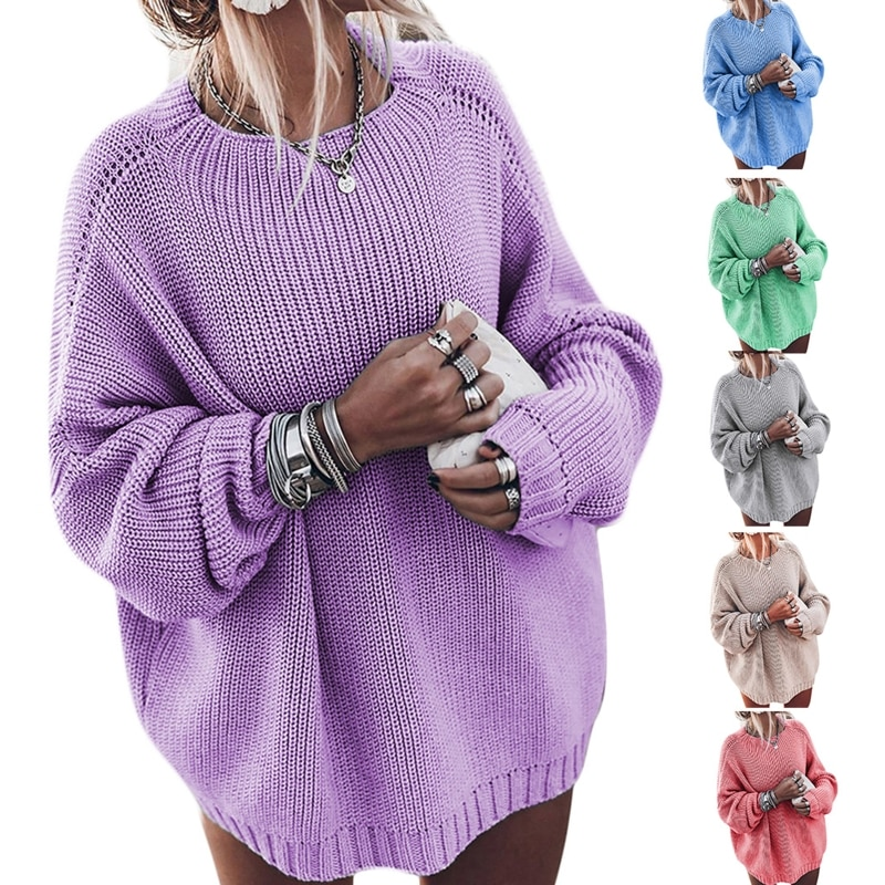 Women Batwing Long Sleeve Sweater O-Neck Oversized Loose Solid Knit Tunic Tops enlarge