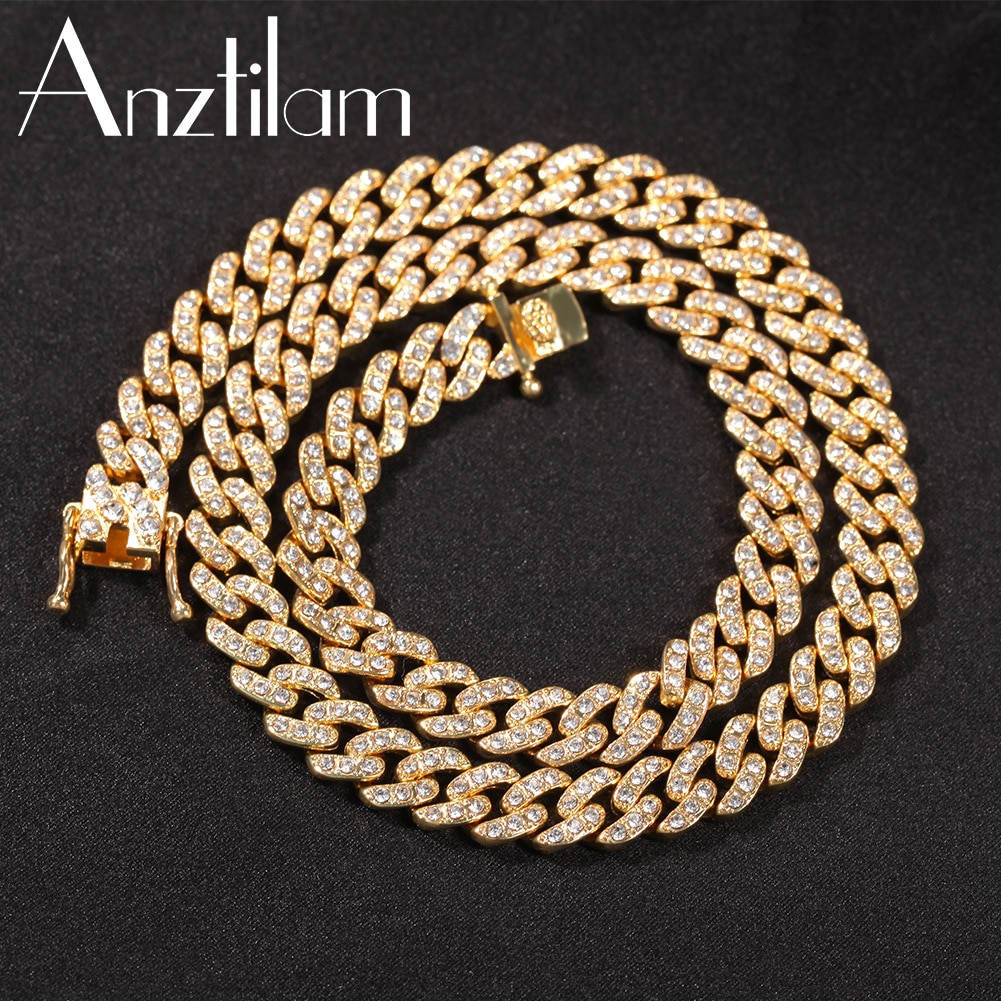 9mm Hip Hop Iced Out Cuban Link Chain Necklace Bling Rhinestone For Women Men's Long Link Choker Jewelry Drop Shipping