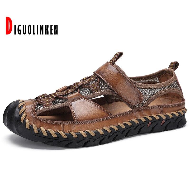 2021 جلد أصلي للرجال أحذية صيف جديد للرجال الصنادل في الهواء الطلق شاطئ صنادل مماشي للموضة النعال تنفس كلاسيكي كبير الحجم 38-48