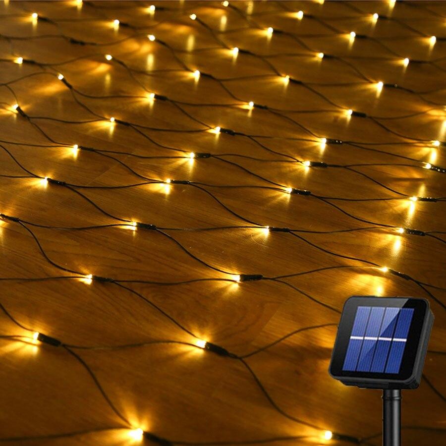 Luz LED de red Solar de 1,1x1,1 M 3x2M de BEIAIDI, guirnalda de luces de guirnalda de luz de Navidad, luz de fiesta y boda
