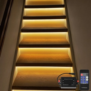11 Steps Warm White 0.5M stair led strip light indoor with wireless remote dimmer-Plug and Play