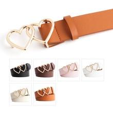 Faux Leather Love Buckle Belts Double Love Heart Women Belt  Alloy Pin Buckle Leather Belt Black Whi