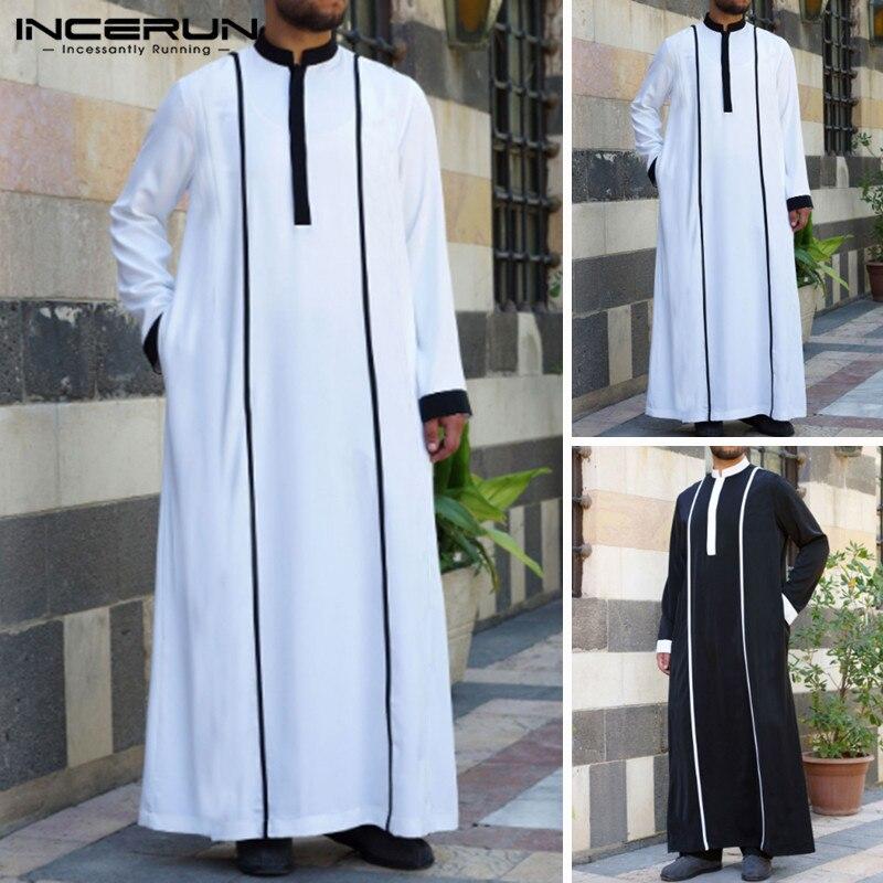 INCERUN musulmán árabe islámico Kaftan hombres Patchwork de manga larga batas vintage Abaya Saudí Arabia Medio Oriente hombres Jubba Thobe 2019