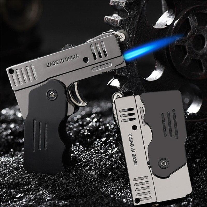 Gas Lighter High Capacity Torch Turbine Lighter Spray Gun Butane Two Flame Blue Flame Cigar Explosio
