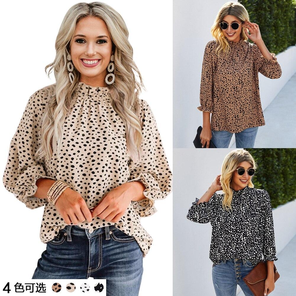 Женские рубашки, блузки, женские топы, уличная одежда с леопардовым принтом, женские топы с круглым вырезом, женские рубашки 2021