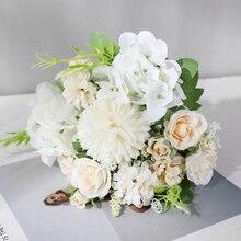 Luyue 7 głowice sztuczny bukiet róż stół do pokoju dziennego dekoracja do bukietów dla domu sztuczne, na ślub dekoracja kwiatowa kryty