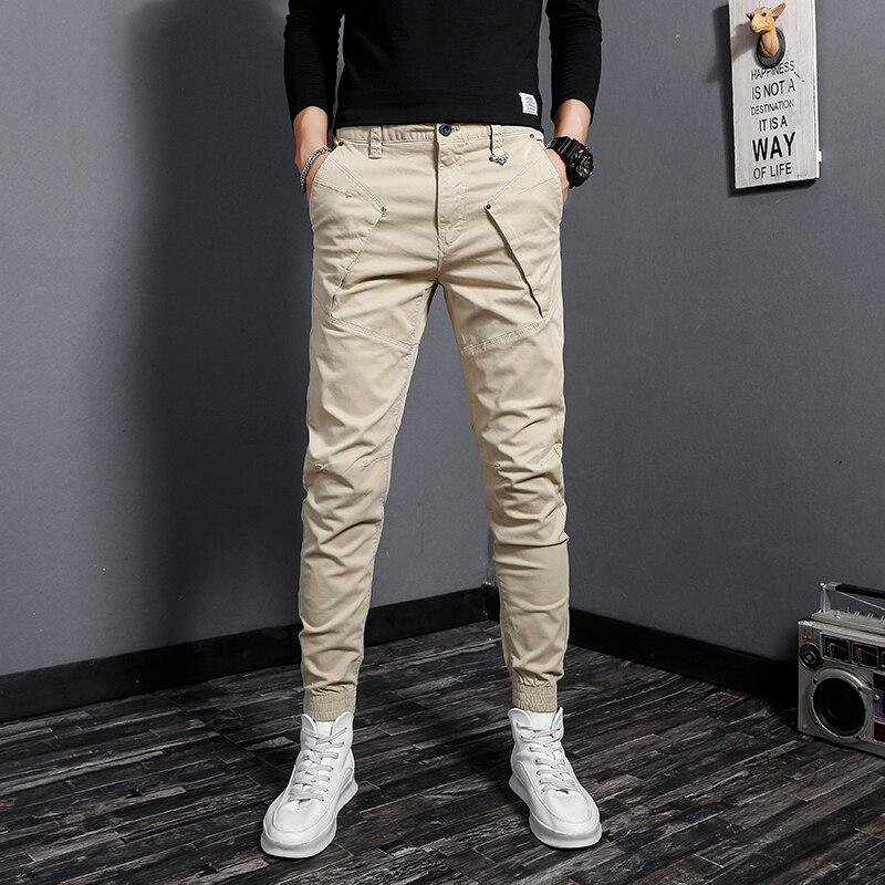 Модные мужские Джоггеры в Корейском стиле, комбинированные Дизайнерские повседневные брюки-карго для мужчин, уличная одежда, Джоггеры в ст...