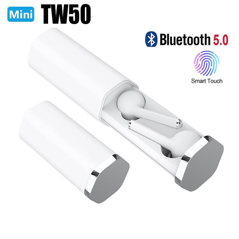 Nuevo auricular deportivo Bluetooth TW50 TWS manos libres Bluetooth 5,0 con micrófono dual inteligente inalámbrico