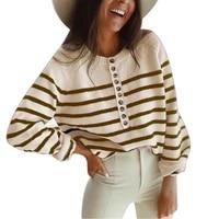 women sweater horizontal stripes single breasted autumn winter knitted long sleeve top pullover streetwear women sweater
