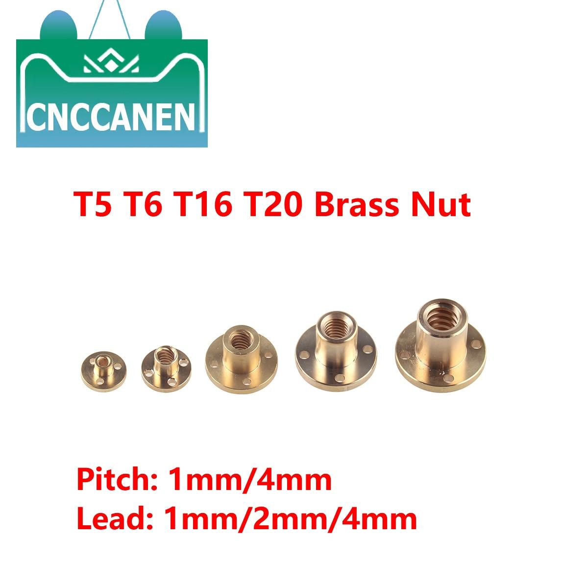 Tuerca de tornillo de plomo T5 T6 T16 T20 1mm/2mm de plomo 1mm/2mm/4mm tuerca de tornillo de plomo de latón para piezas CNC accesorios de impresora 3D