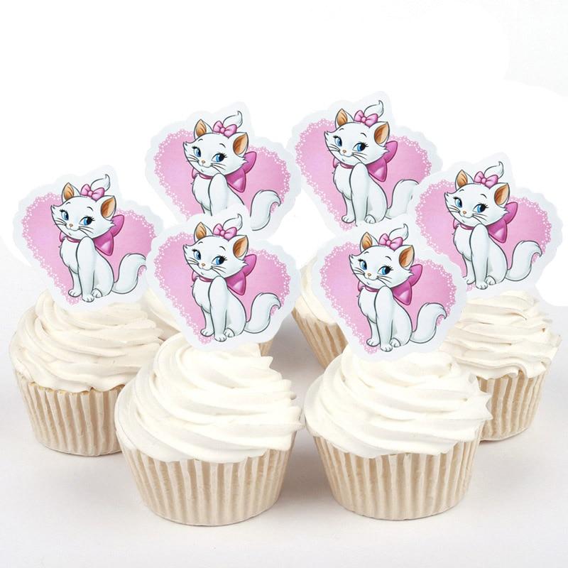 50 Uds Disney gato de Marie duquesa Sofía Winnie el pooh de papel Cupcake topper para la decoración de la torta de cumpleaños boda proveedor de fiesta