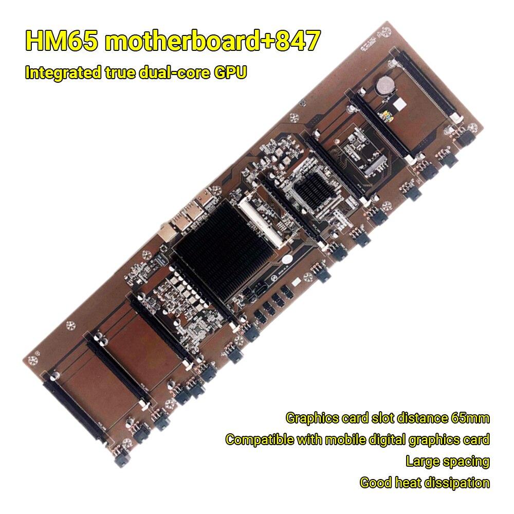 HM65 اللوحة الأم HM65 + 847 المتكاملة وحدة المعالجة المركزية BTC mning آلة 8 فتحات بطاقة DDR3 الذاكرة اللوحة ل Rx580 1660 2070 2080 3090