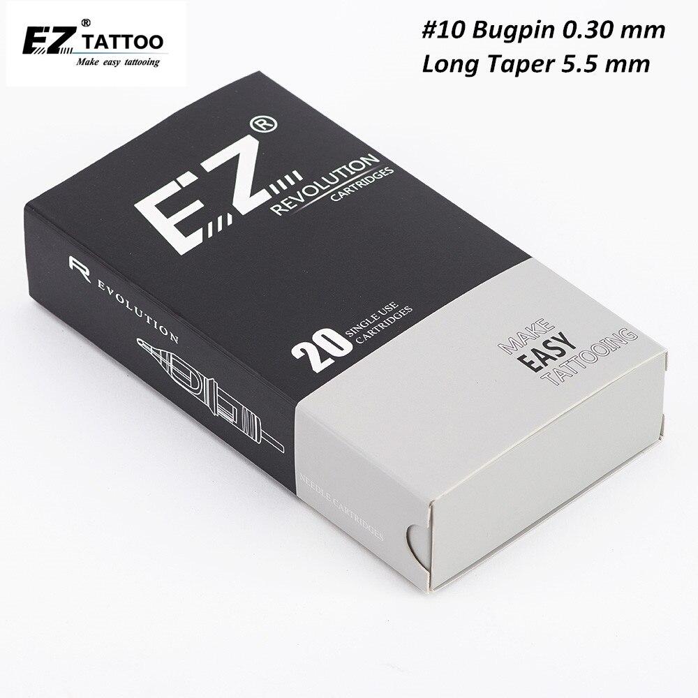 EZ Revolution Tattoo Cartridge Needles #10(0.30 MM) Round Liner for Rotary Machine Grips 20 PCS/Box