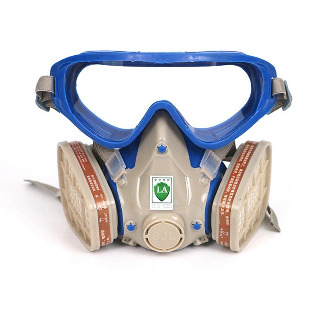 Máscara dupla do tanque duas válvulas para a respiração fácil facilmente ajustável cinta filtragem pequenas névoa das poeiras 1 conjunto