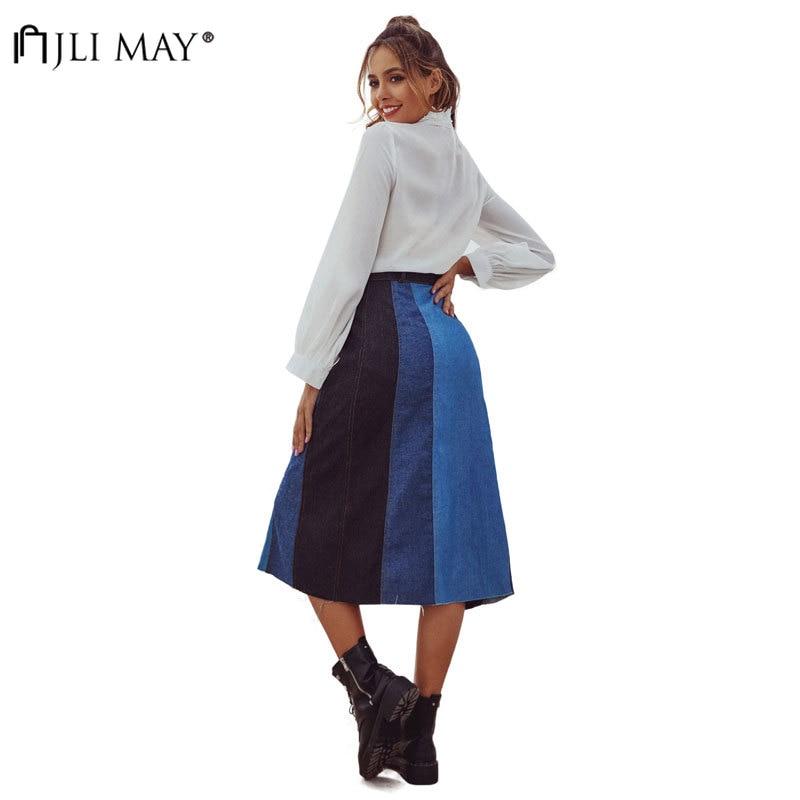 JLI MAY Summer Denim High Waist Skirt Women Slim Single Breast Geometric Patchwork Female Midi Elegant Casual A-line Skirts