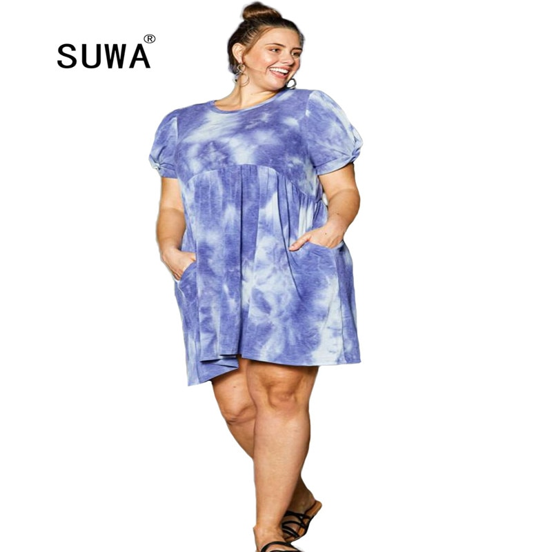 Vestido de talla grande azul blanco tinte dibujo camisetas verano popular 2020 mujeres cuello redondo manga corta mini vestidos