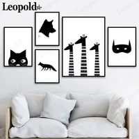nordic black and white simple animal canvas painting wall art cat fox giraffe poster modern childrens room home decoration