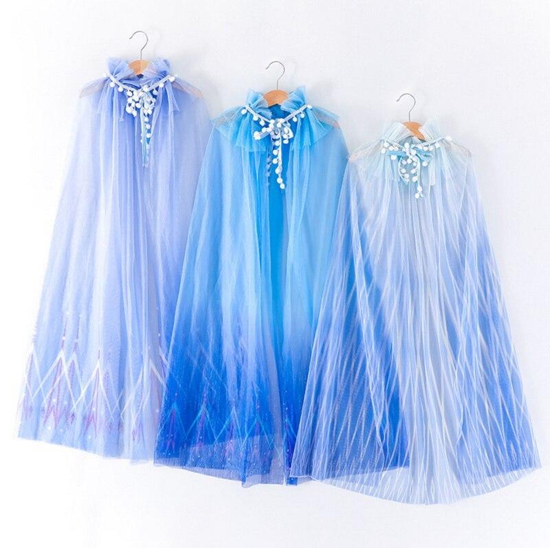 2020 Girl's Mesh Cape Blue Colorful Long Length Princess Cloak Halloween Cartoon Cosplay Shawl E2061