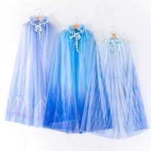 2020 Girl's Mesh Cape Blue Colorful Long Length Princess Cloak Halloween Cartoon Cosplay Shawl E2061