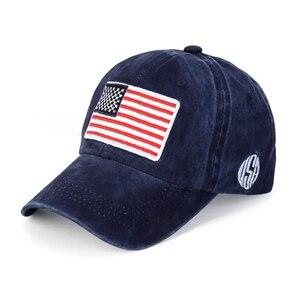 Brand Cotton Washed Baseball Cap For Women Flag  USA Hat Snapback Adjustable Baseball Caps Men Snapback Hats B2