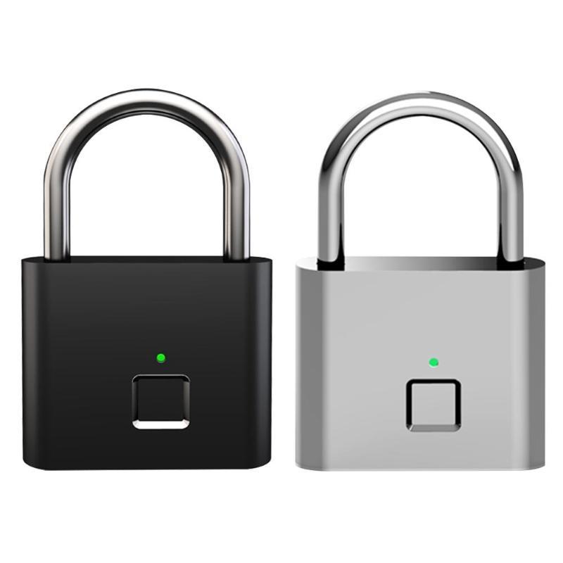 Smart Padlock with Fingerprint Drawer Lock USB Rechargeable Door Anti-Theft Lock for Bag Suitcase Home Security Lock Metal Self