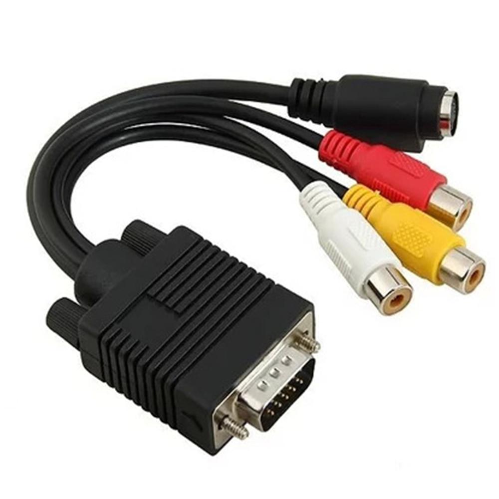 VGA macho a S-Video 3 RCA AV hembra Jack convertidor de vídeo compuesto de salida de TV, Cable de ordenador para Monitor proyector de TV LCD