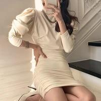elegant turtleneck slim pleated drawstring mini package hip dress fashionable bubble sleeve solid color dresses for women