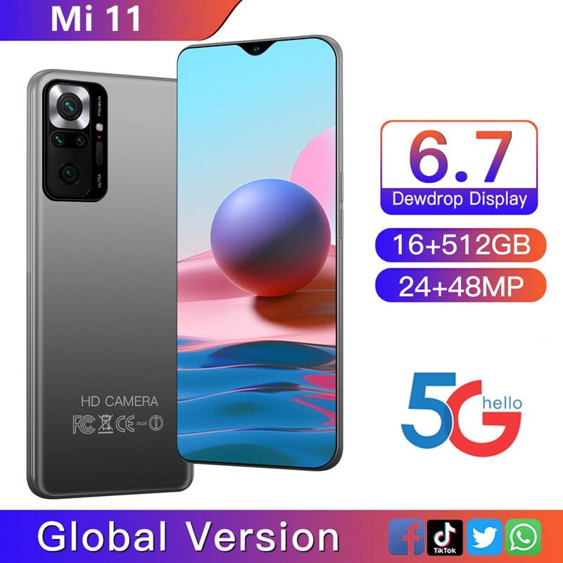 2021 Global Version Mi 11 Smartphone Android 16GB 512GB 10 Core 48MP Carema 4G 5G CellPhone Daul SIM